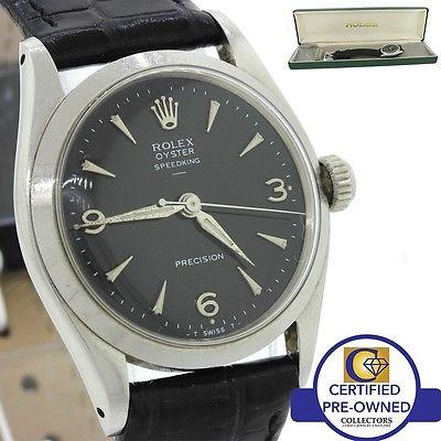 Vintage 1945 ORIGINAL Rolex Speedking 6420 Black Steel Manual 30mm Watch w/ Box