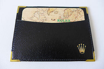 VINTAGE NOS ROLEX WATCH BLACK CALF LEATHER ID DOCUMENT HOLDER WALLET W/ CALENDAR