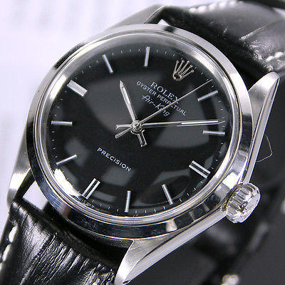 1960s Vintage Rolex Oyster Perpetual Air King 5500 Automatic Black Men's Watch