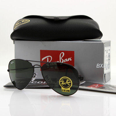 103996cce2 NEW AUTHENTIC RAY BAN AVIATOR RB3025 L2823 58MM GREEN G-15 LENS BLACK FRAME