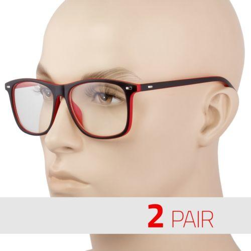 27f05096fa8 2 PAIR BLACK FRAME RETRO Geek Nerd Non Prescription Clear Lens Eye Glasses  Red