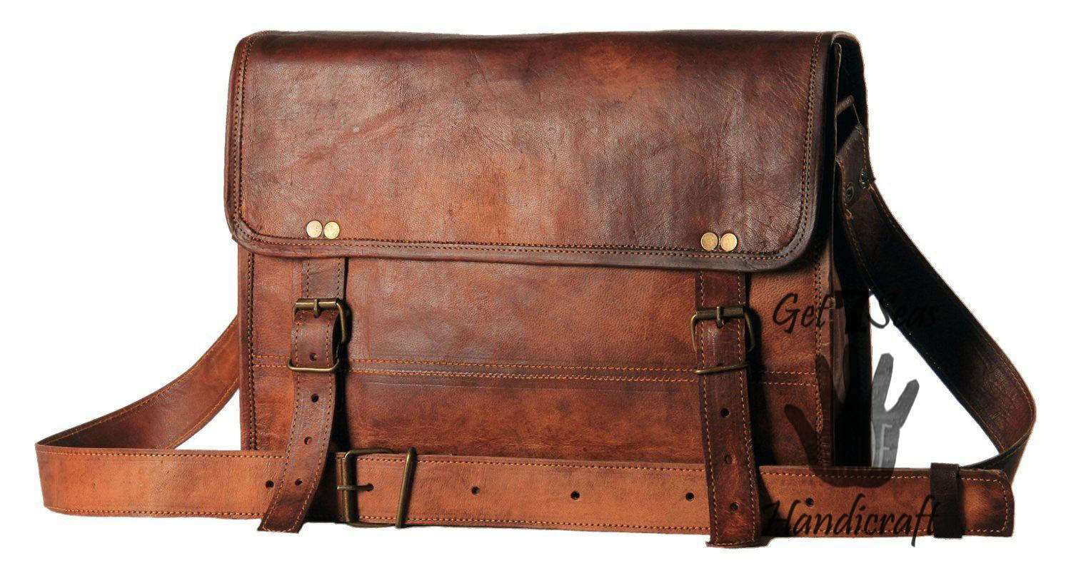 Leather Computer Bag Men S Shoulder Laptop Women Messenger Vintage Brown Bags