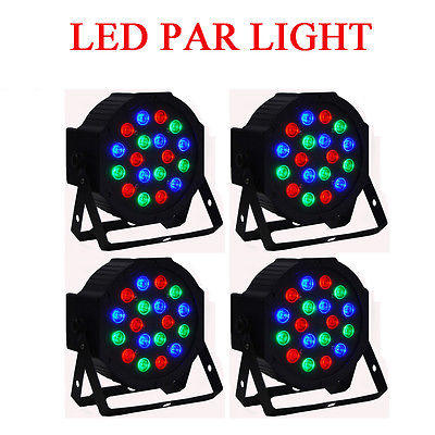 Eyourlife 4PCS PAR64 18X3W LED LIGHT RGB 54W DMX512 Stage Lighting Show