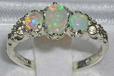 Ladies Solid 14K White Gold Natural Fiery Opal English Victorian Trilogy Ring