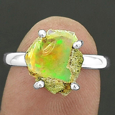 Natural Ethiopian Opal Rough 925 Sterling Silver Ring Jewelry s.8 SDR5886