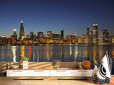Marvelous Chicago Skyline Water At Night Wall Mural Photo Wallpaper GIANT WALL DECOR Part 12