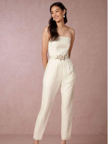 Bhldn Off White Langley Wedding Jumpsuit Uk Size 10 Us 6 City Bride