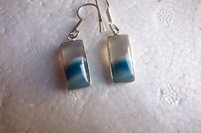 Blue/White Chalceodny Silver Plated Ready to wear Earrings 1pair #GJ6318