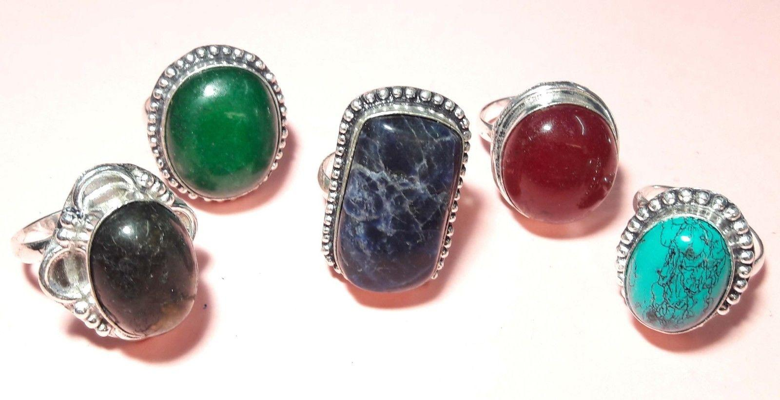 5PCS RING AMAZING DESIGN MIX STONE 925 STERLING SILVER OVERLAY SIZE ADJUSTABLE""