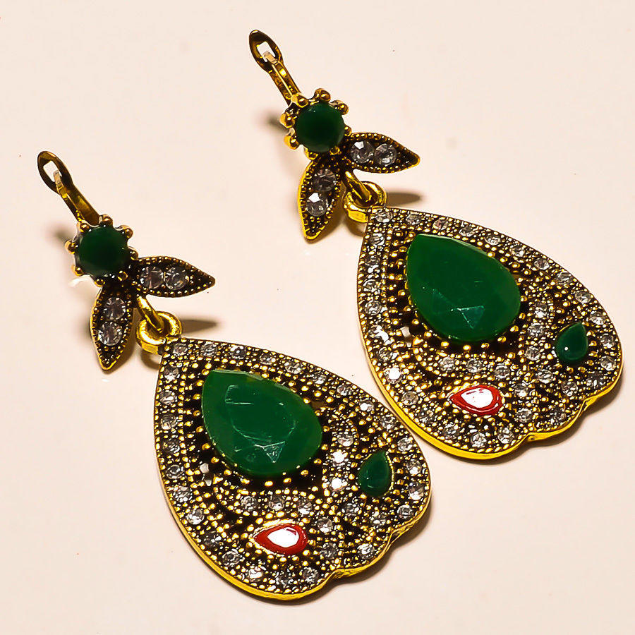 "TURKISH STYLE DYED EMERALD+RUBY GEMSTONE BRASS METAL 19 GM EARRING 2"" 4546"