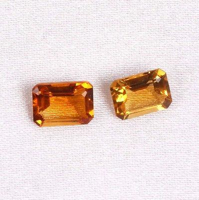 1.75 CT. 2 PCS. LOT FACETED OCTAGON CUT 7X5 MM NATURAL CITRINE LOOSE GEMSTONES
