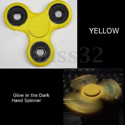 Yellow Fidget Hand Finger Tri Spinner Glow In The Dark Luminous Focus Gyro Toy