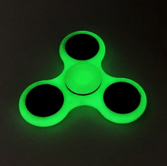Hand Spinner Spiner Tri Fidget Still Ball Desk Toys EDC Anti-Stress Green Glow