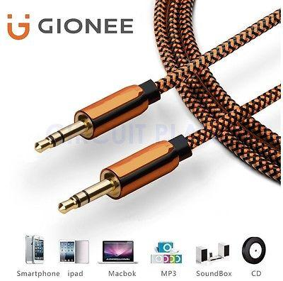 3.5mm Jack HQ Orange AUX Cable Audio Lead Headphone For Gionee S10