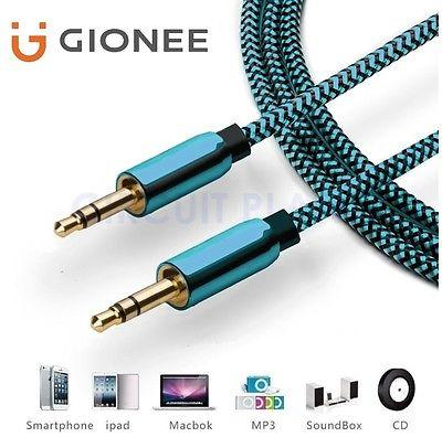3.5mm Jack Professional Blue AUX Cable Audio Lead Headphone For Gionee S10