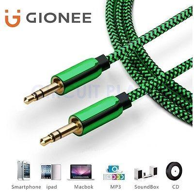 3.5mm Jack Professional Green AUX Cable Audio Lead Headphone For Gionee S10