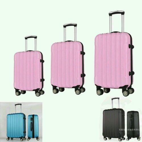New3 Pcs 6 Color Luggage Travel Set Bag ABS Trolley Suitcase w/TSA Lock