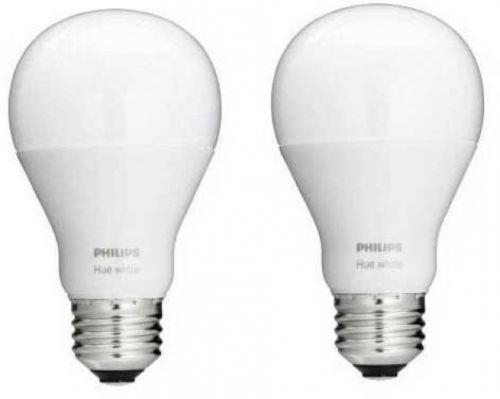 Philips 465443 Hue White A19 Light Bulb, 2-Pack,Works With Amazon Alexa