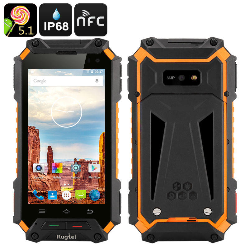 Rugtel X10 Rugged Smartphone-3050 mAH, 4.5 inch screen, Quad Core CPU, GPS, NFC