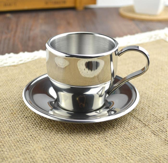 Capacity 160ML European Simple Cup Stainless Steel Coffee Tea Set Gift