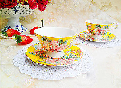 "4 ""Piece"" European Yellow Bone China Wedding Gift Coffee Cups Tea Set Teaset"