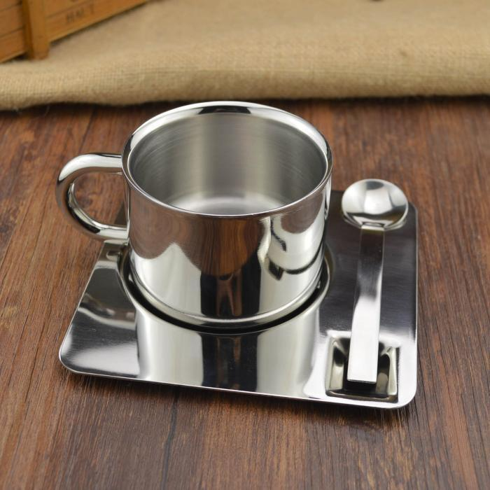 Capacity 175ML European Simple Cup Stainless Steel Coffee Tea Set Gift