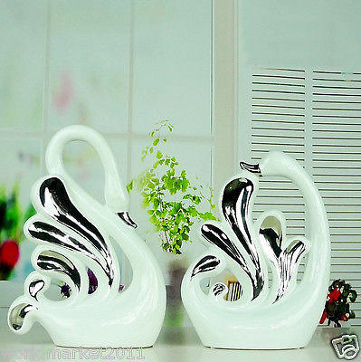 "Modern Simplicity White+Silver Ceramic Home Accessories Decoration 2 Pcs ""Swan"""