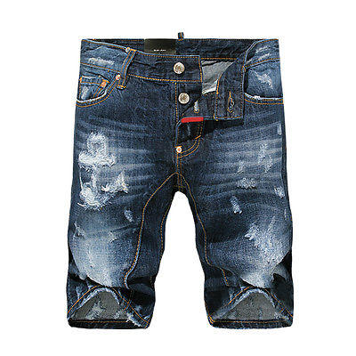 New Mens Italy Style Anchor Mark Distressed Slim Blue Pants SHORTS JEANS D807T