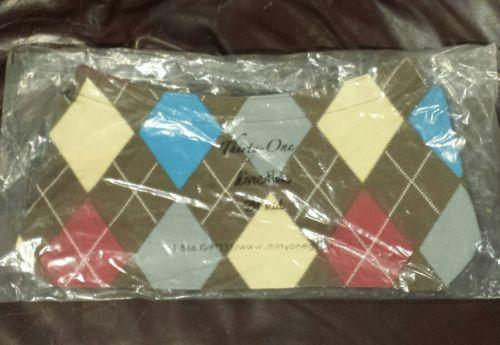 Thirty-One 31 Brown Argyle Plaid Fitted Purse Skirt Cover Only NEW