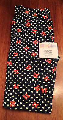 NEW LuLaRoe Leggings OS, Navy Blue Polka Dot w bows. Minnie Mouse One Size, NWT