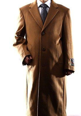 MEN 3 BUTTON WOOL CASHMERE FULL LENGTH CAMEL TOPCOAT, L40913C-40914-CAM