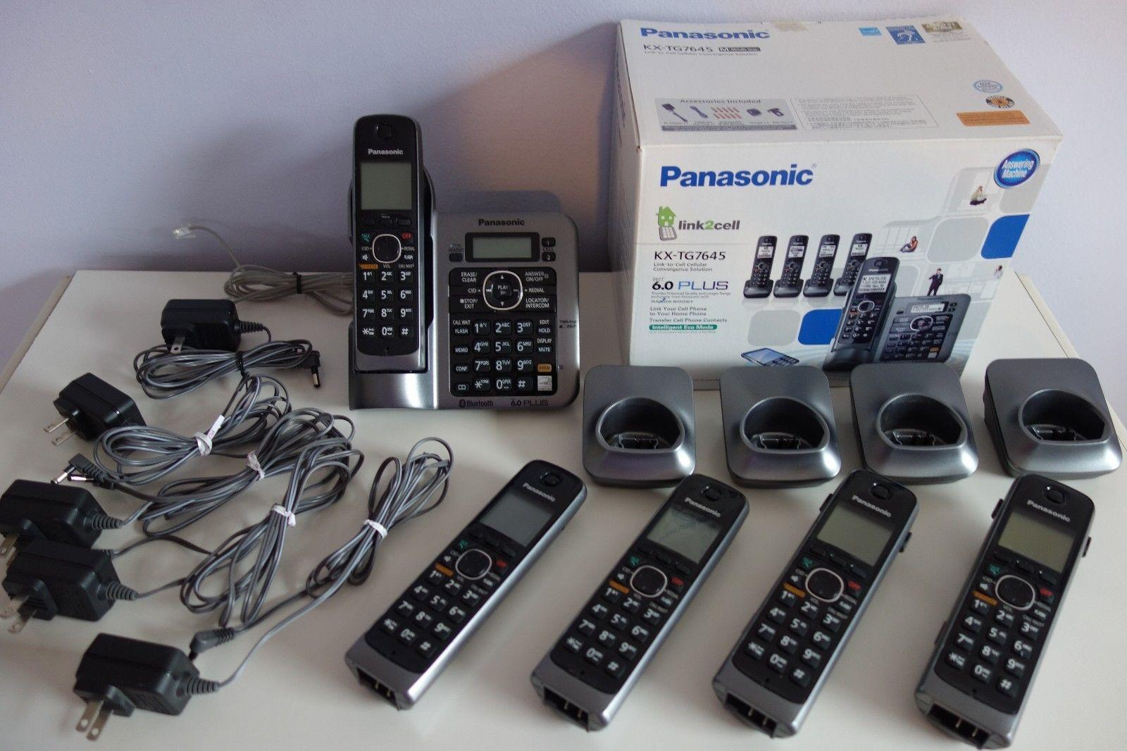 Panasonic KX-TG7645 Telephone Answering Machine Link to Cell 5 Handsets