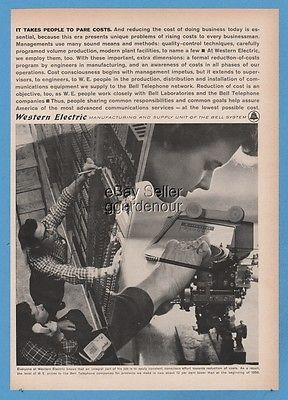 1962 Western Electric Bell Telephone Equipment Factory Worker Assembly Phone Ad
