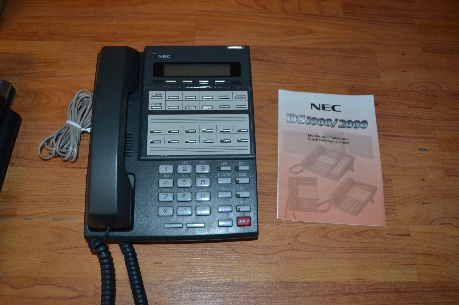 NEC DS1000 / 2000 22-BTN Display Telephone Tested and Working w/ Box & Cable