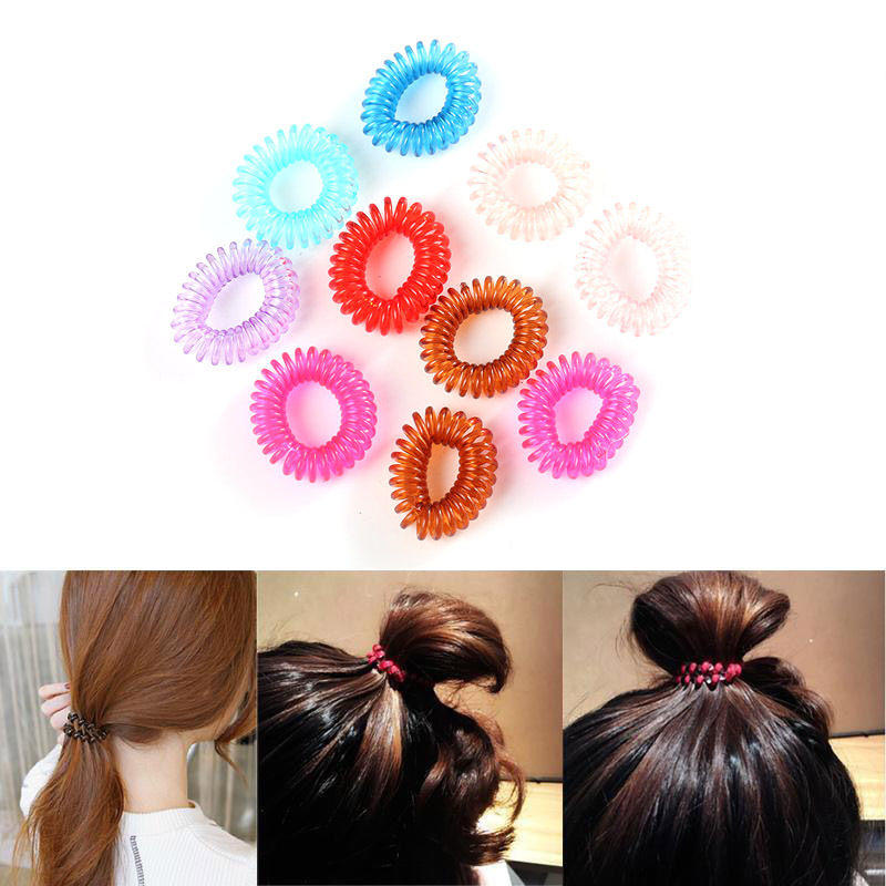 10pcs Women Cute Telephone Coil Hair Ring Rope Curly Telephone Line Bands