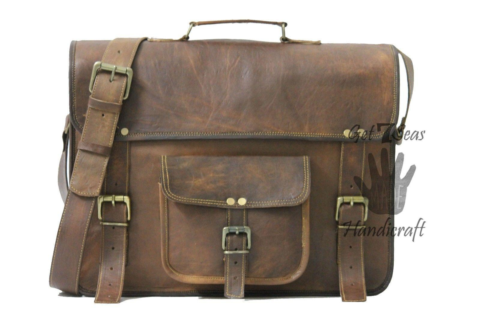 Leather Computer Bag Men S Shoulder Laptop Women Messenger Briefcase Brown