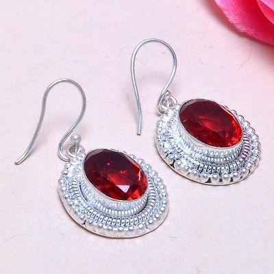 GARNET GEMSTONE 925 STERLING SILVER OVERLAY EARRINGS 505 SZ 1.70""