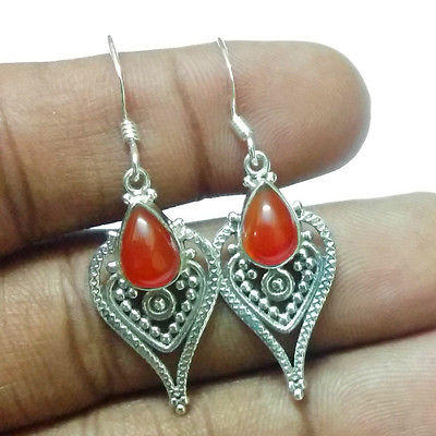 "Fashion Jewelry Carnelian Gemstone Solid 925 Silver Earrings  S 1 1/2"" #2041"