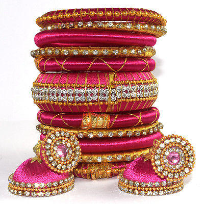 PINK SILK THREAD WRAP BANGLE, EARRINGS SET FOR WOMEN GIRL jewelry 11Pc