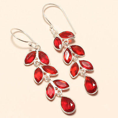 RED GARNET QUARTZ 925 SILVER EARRING 2.22""