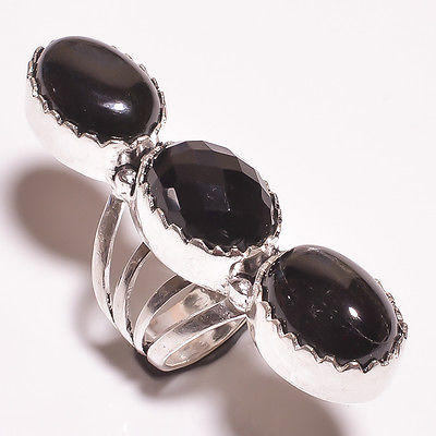Excellent Black Onyx  .925 Handmade Ring Size -7.75 Jewelry R224