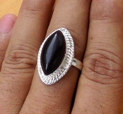 BLACK ONYX GEMSTONE 925 STERLING SILVER OVERLAY HANDCRAFT RING