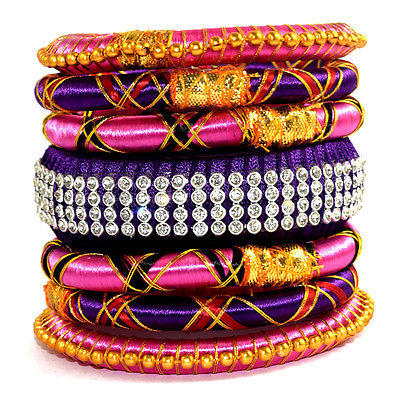 India Fashion Multicolor Silk Thread Wrap Bangle Bracelet Party Women Girls 7Pcs