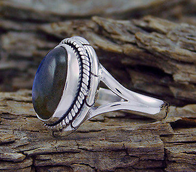 925 Sterling Solid Silver Labradorite Gemstone Fancy Jewelry Ring s.7 SR-495