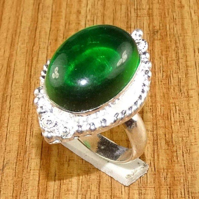 Classic Green Crystal 925 Silver Overlay Plated Handmade Designer Ring Sz 7.0 US