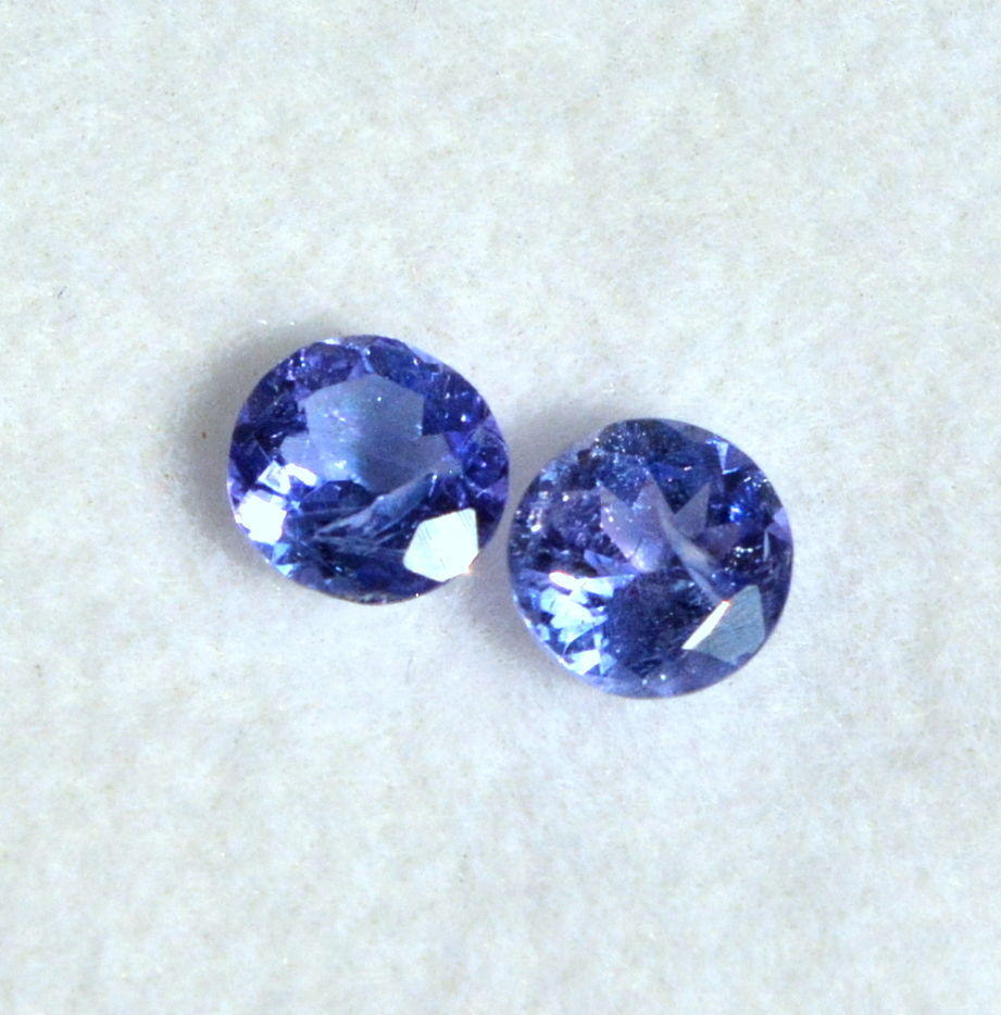 Certified Natural Tanzanite Round Cut Pair 5.50 mm 1.11 Cts Loose Gemstones