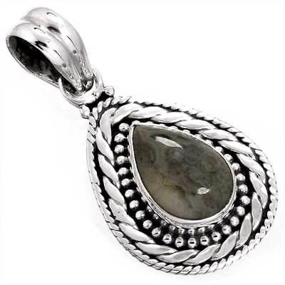925 Solid Sterling Silver Jewelry Natural Ocean Jasper Gemstone Pendant cg79521