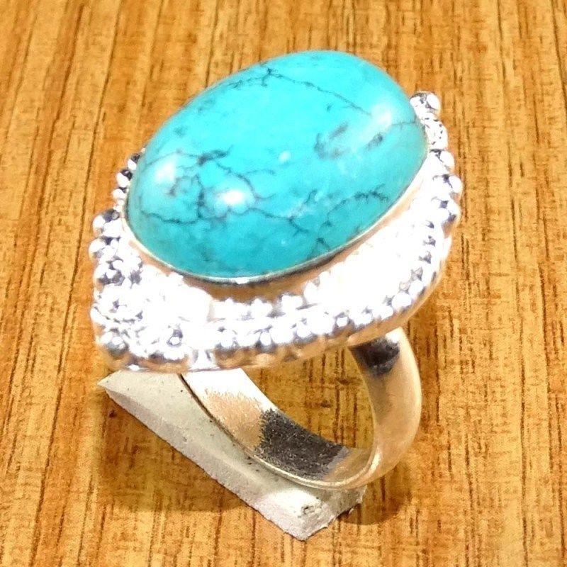 Amazing Turquoise 925 Silver Overlay Plated Handmade Antique Ring Sz 7.0 US