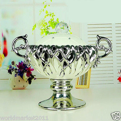 European White+Silver Ceramic Trophy Shape Home Accessories Decoration Boxes B