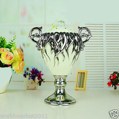 European White+Silver Ceramic Trophy Shape Home Accessories Decoration Boxes A